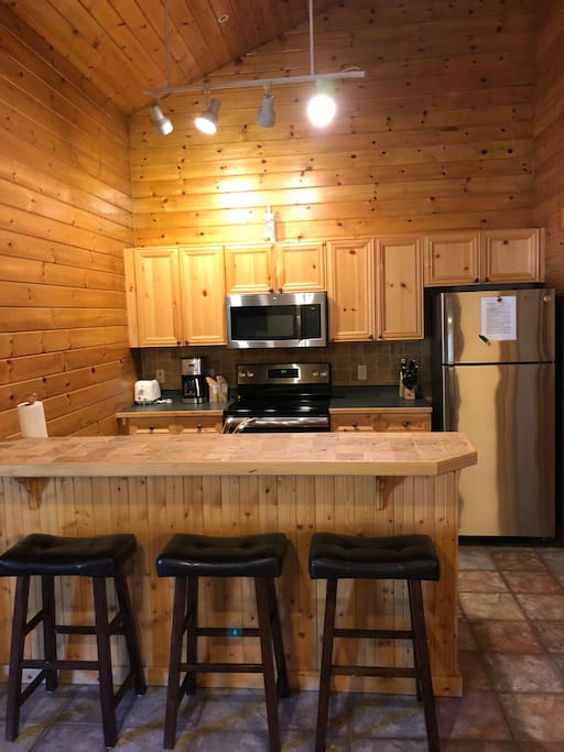 Kitchen with recently updated stainless-steel appliances (Oven, Microwave, Fridge, Freezer + Ice maker).