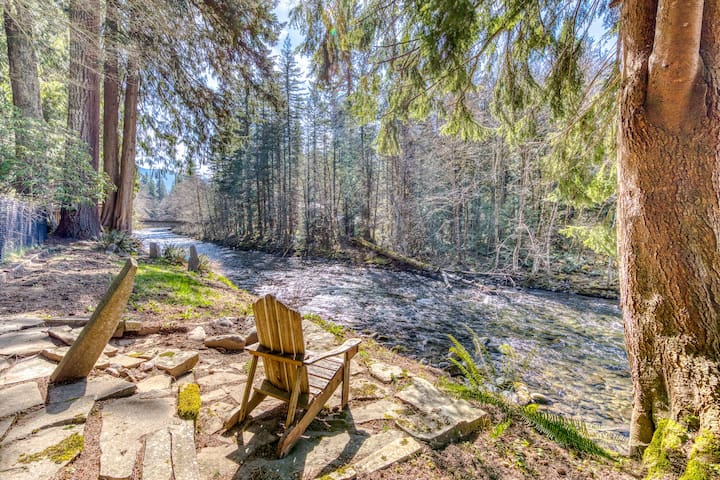 Dog-friendly, riverfront home w/ a wood-burning fireplace & views