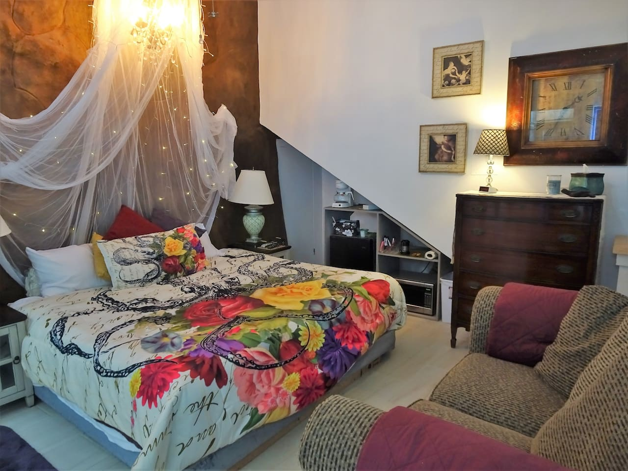 The Romantic Suite for 4 is on the beach and has a King Bed, Full Bath, Micro, small Refrigerator, and Coffee Pot.