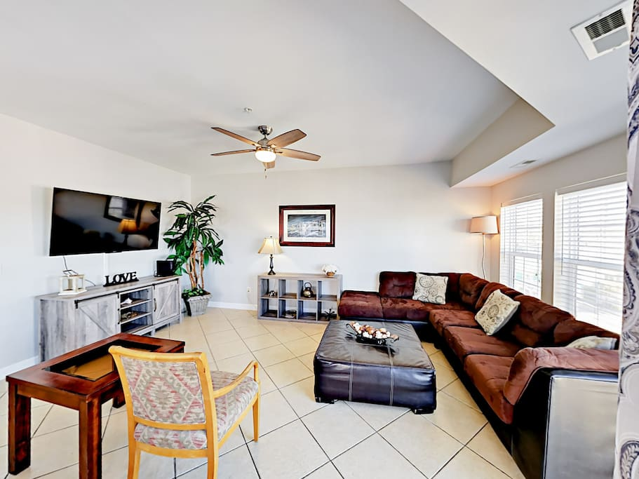 You'll find lots of space to sit and relax, plus a flat screen TV in the living area.