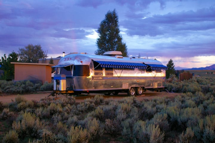 Vintage 32' Airstream Overlooking Rio Grande Gorge