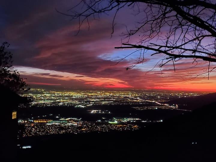 Views beyond..  Stars glow, cities lights glisten!