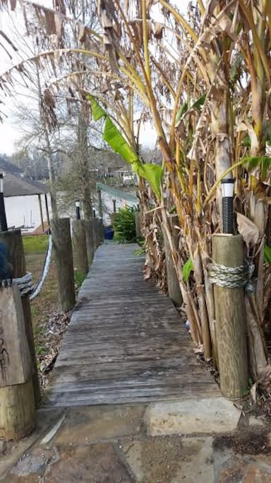 This is walkway leading to bottom deck where tv is