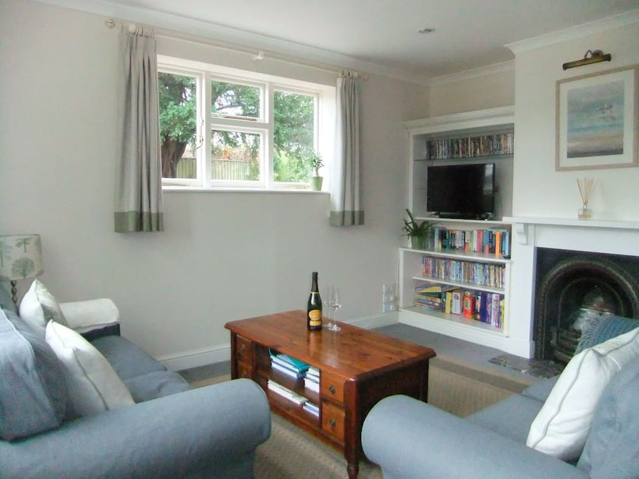 Sitting Room with smart TV, DVD player, books and games