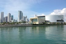 American Airlines arena and downtown from the Perez Art Museum