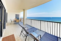 Stunning 180-degree views of the beach from the balcony.