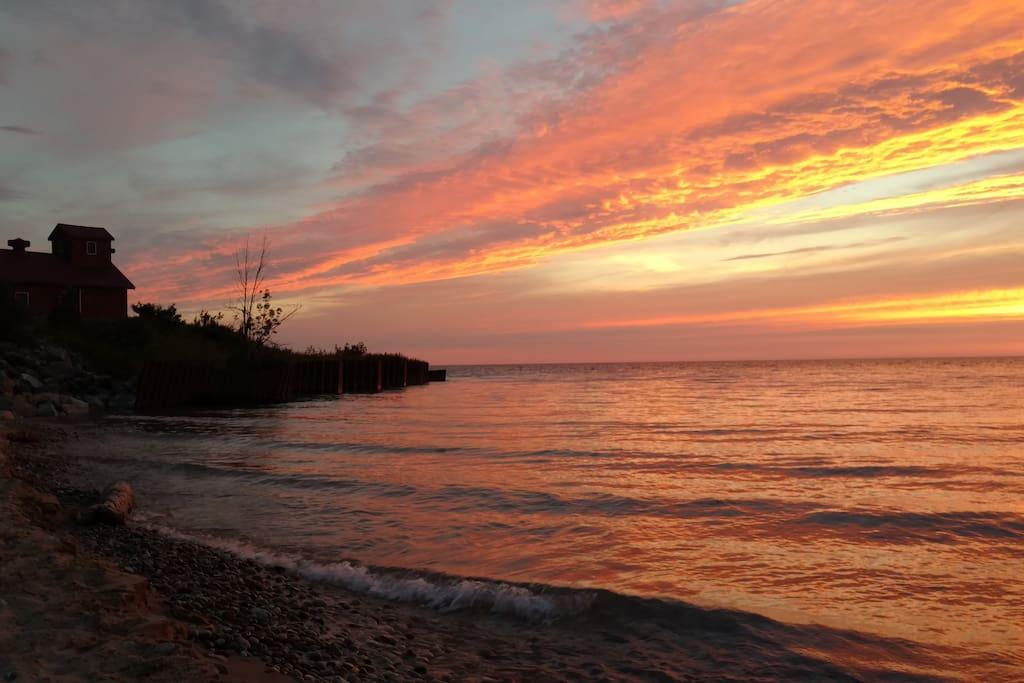 Point Betsie at sunset