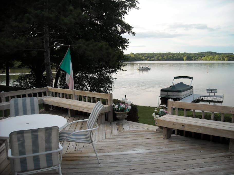 Large lakeside deck over looking the lake.
