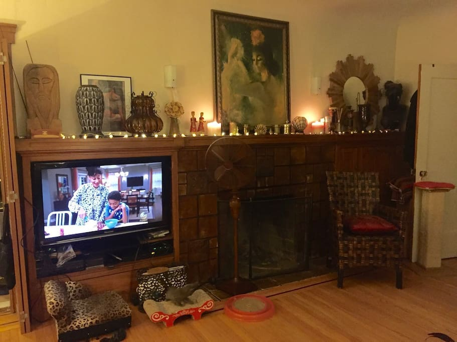 The view from the sofa - my plasma tv and fireplace