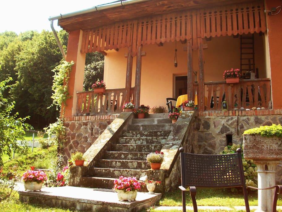 A ház homlokzata a kertből/The facade of the house