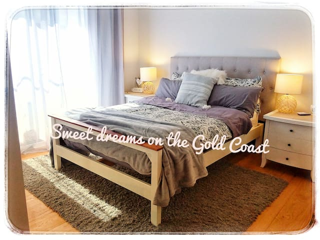 Comfy double bed, with quality bedding and aircon!