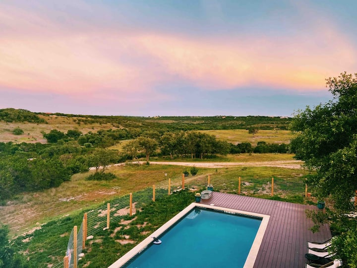 Relax at this private ranch (3 cabins and a pool)
