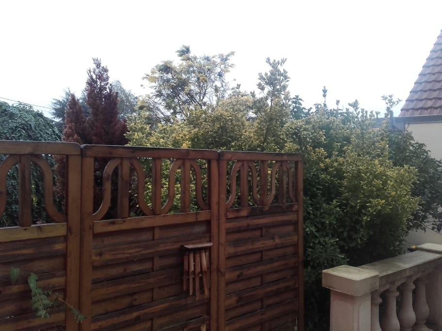 terrasse avec barbecue chaise longue et table