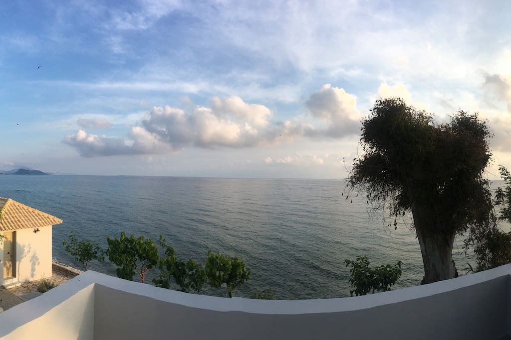 View of the front of the property and the sea from homes balcony