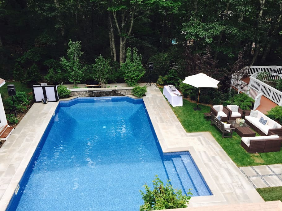 pool and lower limestone patio