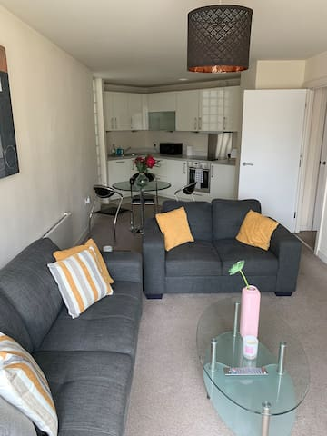 The lounge and kitchen.