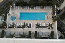 View of the pool from the apartment.