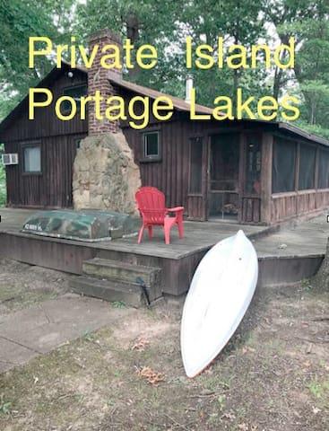 Private Island Retreat  Portage Lakes