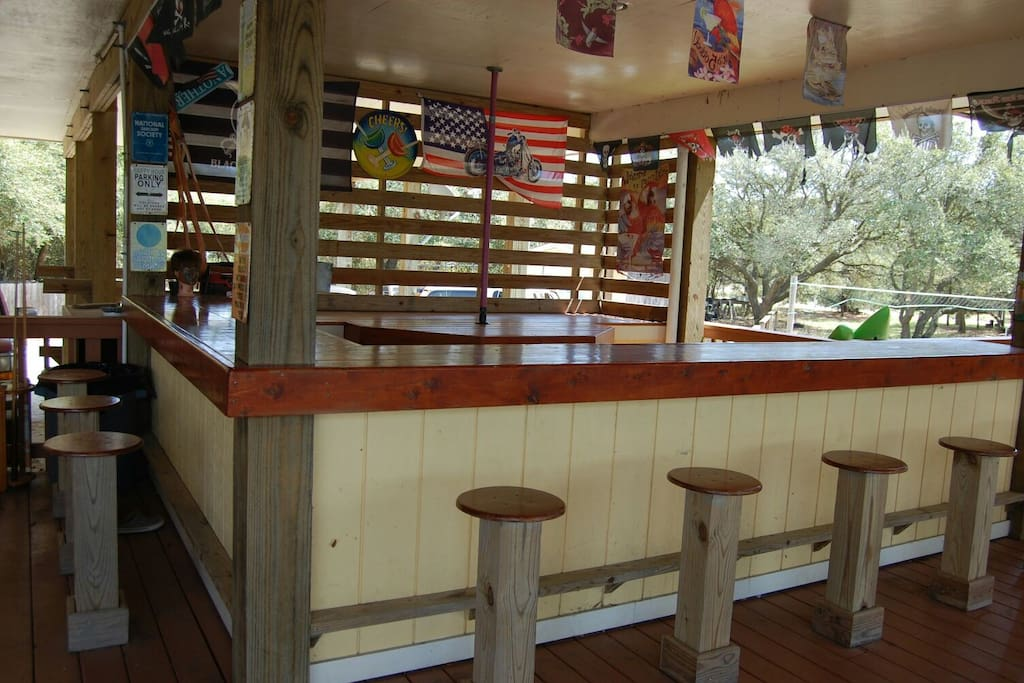 outdoor party bar and huge open decks