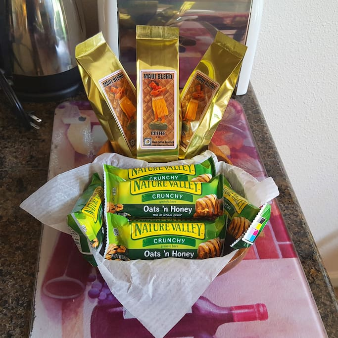 Enjoy our delicious complementary Maui Blend Coffee and snacks.