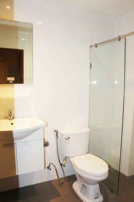 Clean bathroom with bathroom essential