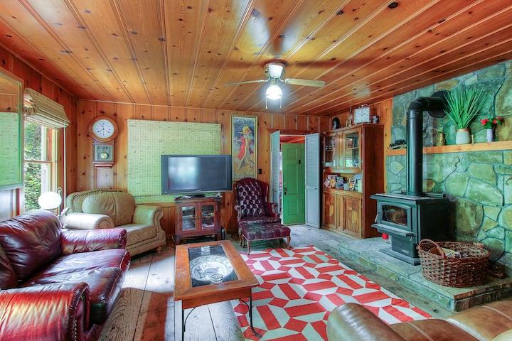Cozy riverfront cabin w/river view, access & entertainment-dogs OK