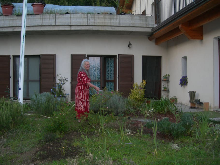 "This is Shama taking care of the garden outside the ""Stanza Azzurra"" (Azure Room)"