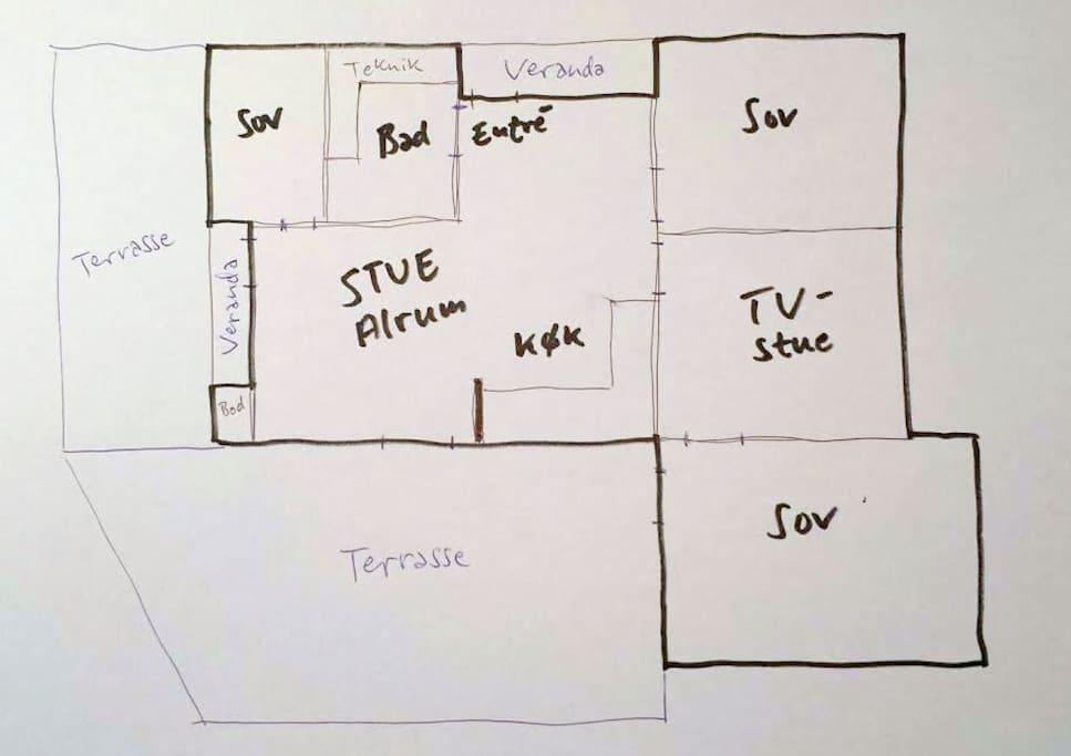 120 sqm interior plus  terrasses of 130 sqm total