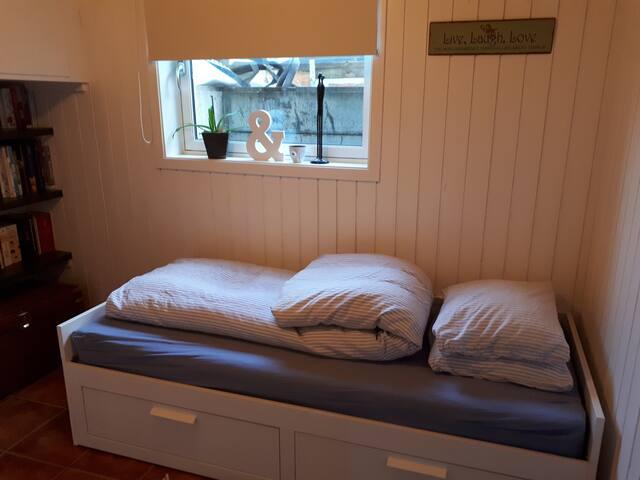 Enkelt rom og toalett i et gjestfritt hjem.
