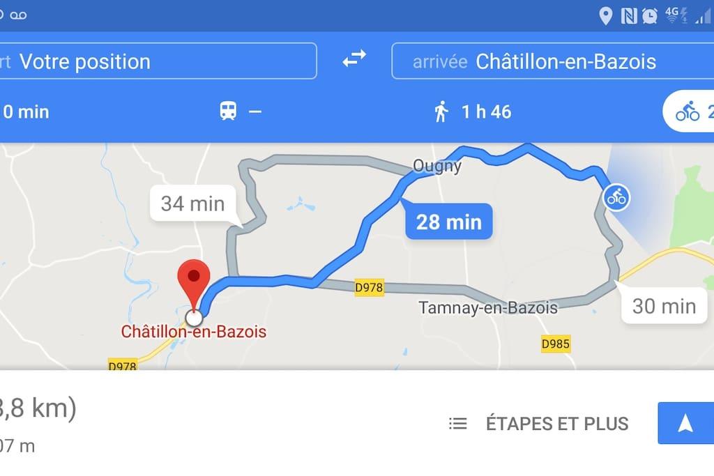 Trajet pour rejoindre la canal du Nivernais en vélo 8,8 km en 38minutes