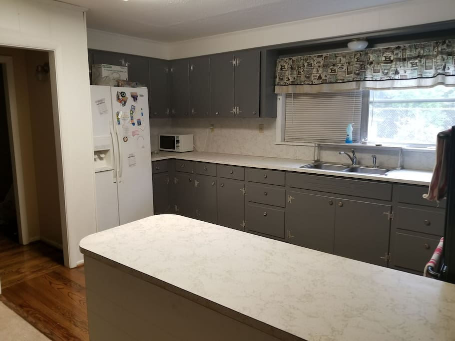 Kitchen: Fridge, small microwave and lots of counter space included.
