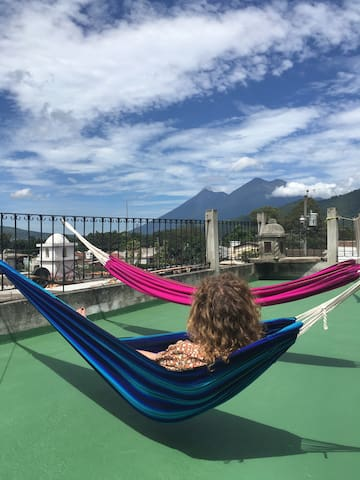 Chill in the Hammocks with amazing view to the Volcanoes!!