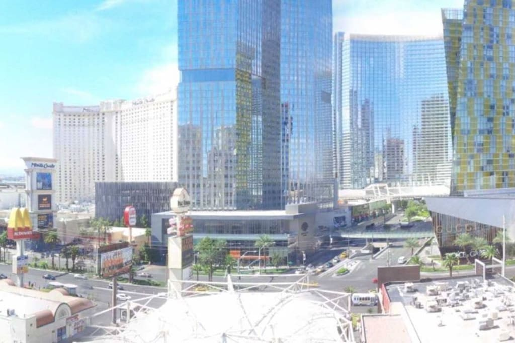 View of the Aria/Cosmo hotels.
