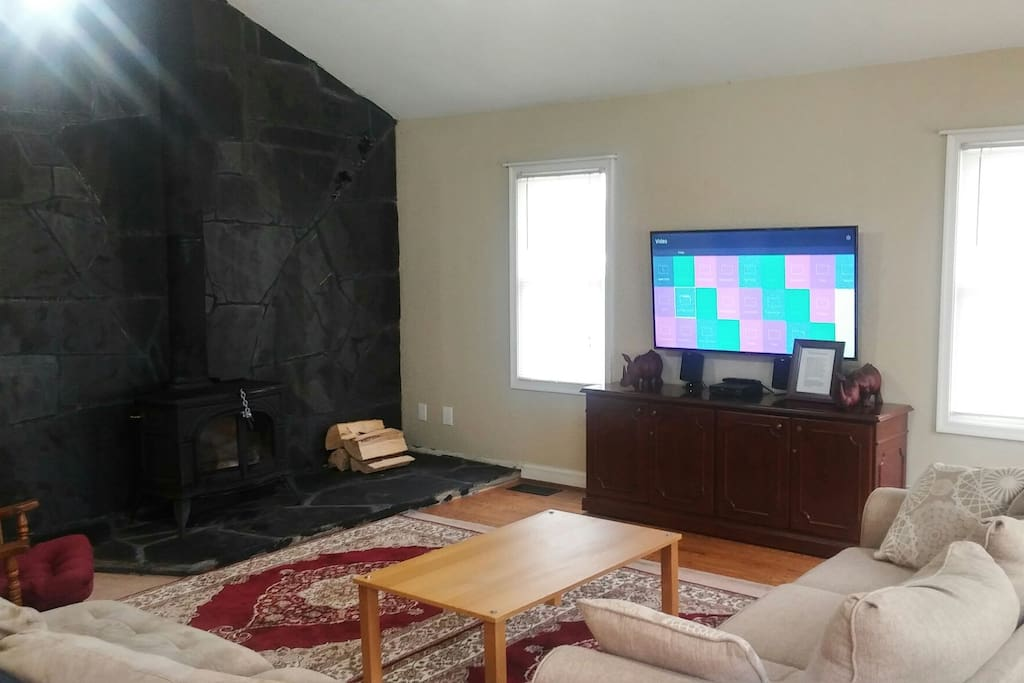 We recently added this stonework and large screen TV to the living room. We also added a queen size sleeper sofa to the living room.