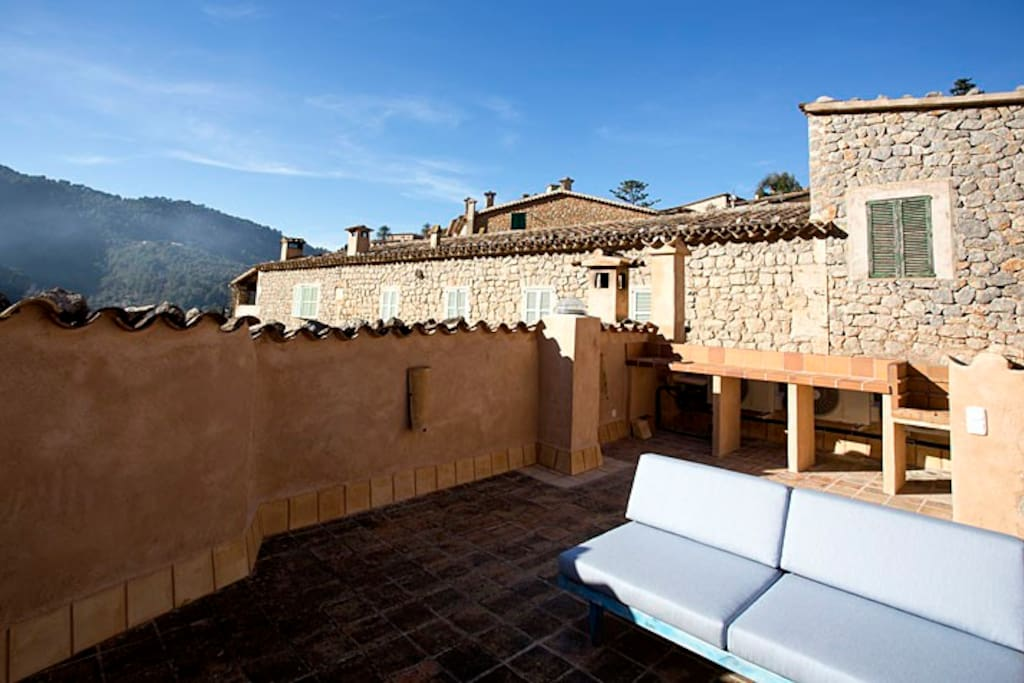 Perfect space to enjoy sunshine and views over the village and mountain range