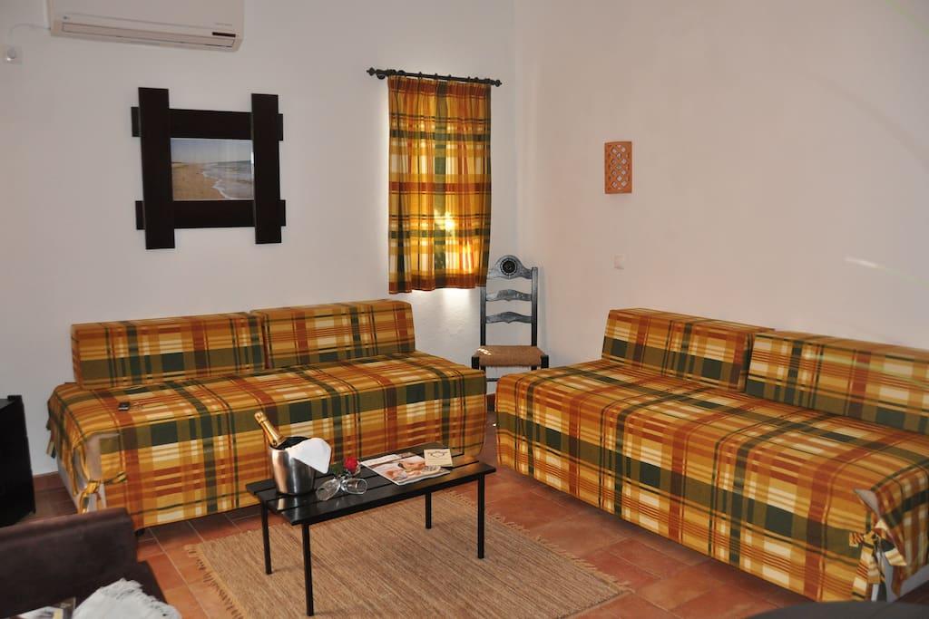 Estúdio composto por área comum de estar e dormir, kitchenette e casa de banho. capacidade até 2 pessoas