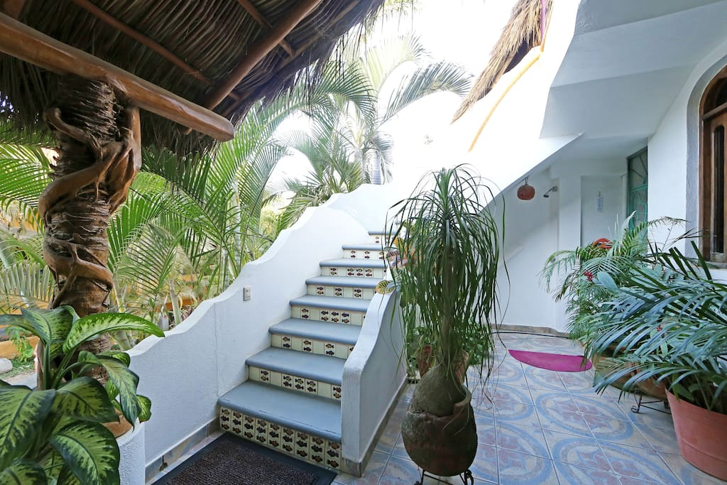 Stairs to your Villa with beach shower beneath