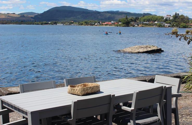 Outdoor area looking to Rotorua lakefront & City