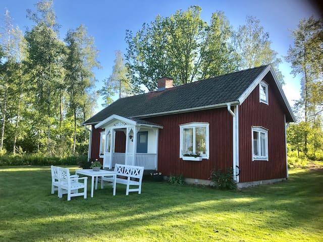 Red cottage at lake Viken