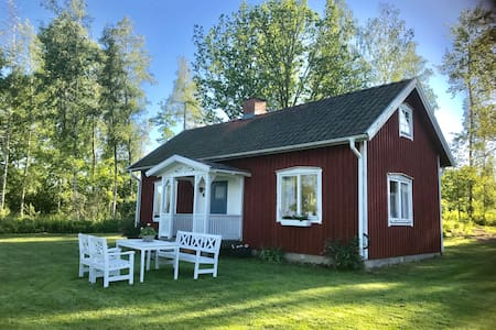 Red cottage at lake Viken