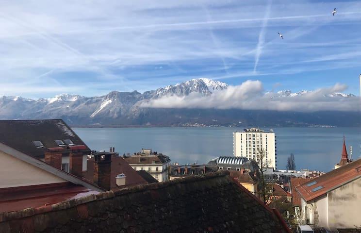 chambre tranquille vue sur le lac, centre Montreux