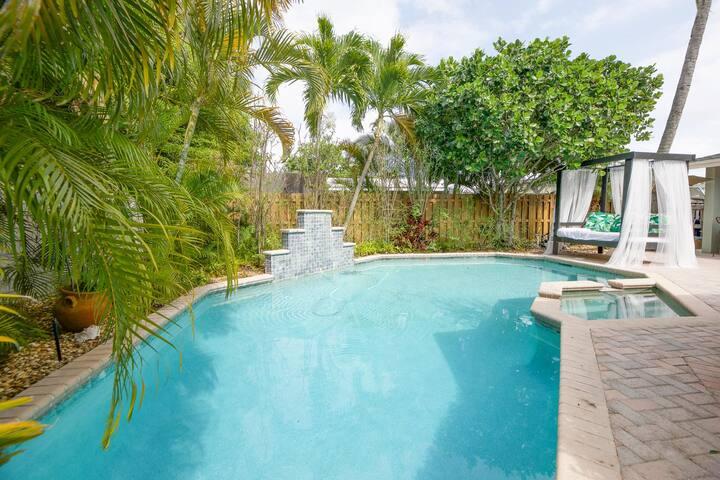 ❤️Cabana house*5 mins to Beach*private pool*