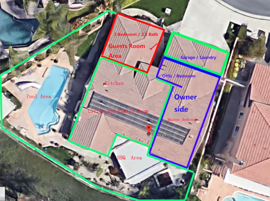 Guests area with its own access in front(indicated in red box,with 3bed/2.5Bath),access to use kitchen, dinning room, living room, pool and BBQ