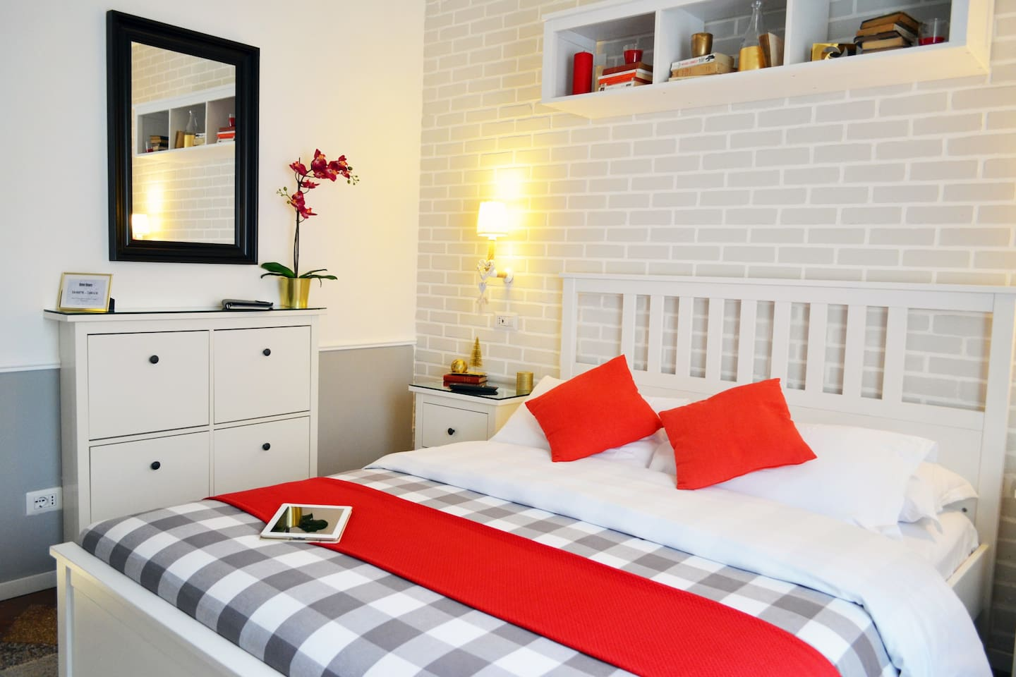 Free Wifi, Coffee machine, iron, iron table, bathroom, USB outlets on each side of the bed, A.C, umbrellas