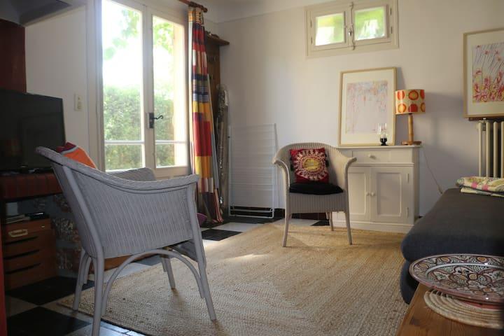 Le salon, canapé et deux fauteuils, télévision donnant sur la terrasse