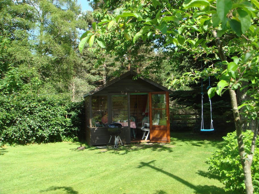 Summer house, a great spot for watching birds and red squirrels