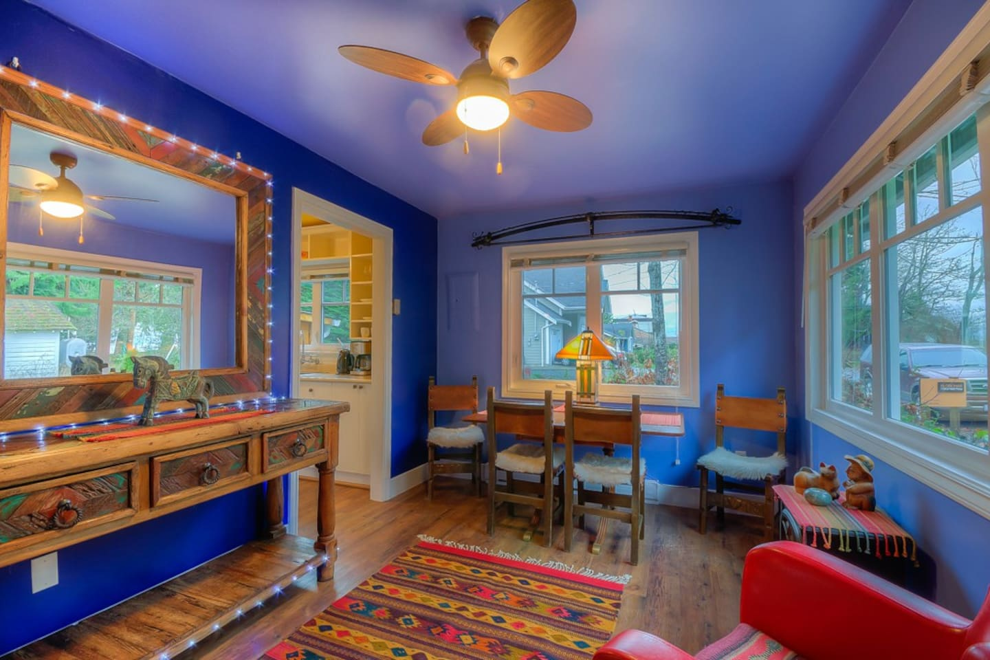 """Welcome to our Casita Style Cottage  Living/Dining Room with Ocean """"Peek-a-Boo"""" Views"""