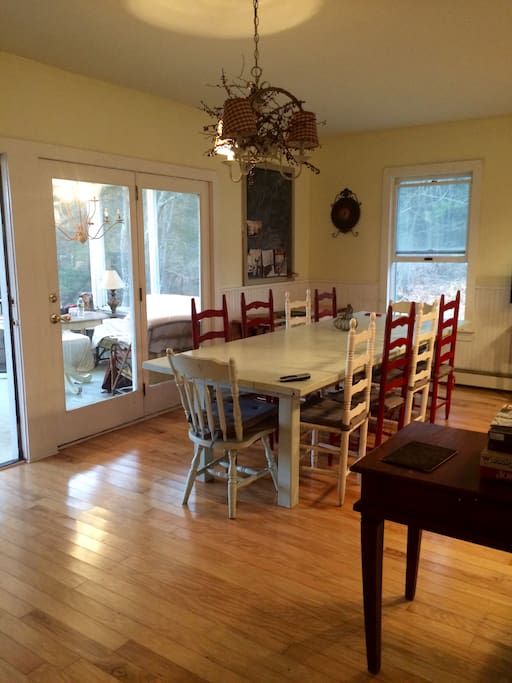 Large dining room table can accommodate 12.