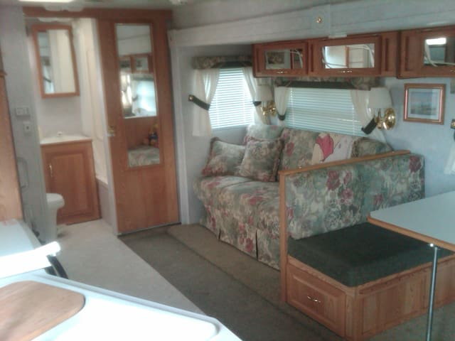 Living area of camper
