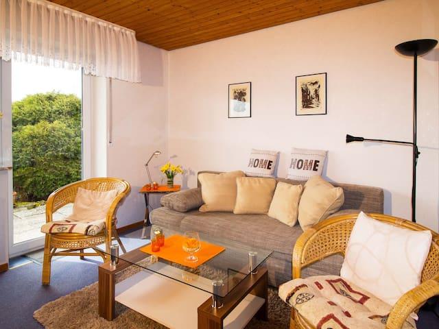 Wohnzimmer mit einer weiteren Schlafgelegenheit (Schlafcouch 1,6 x 2,0 m)